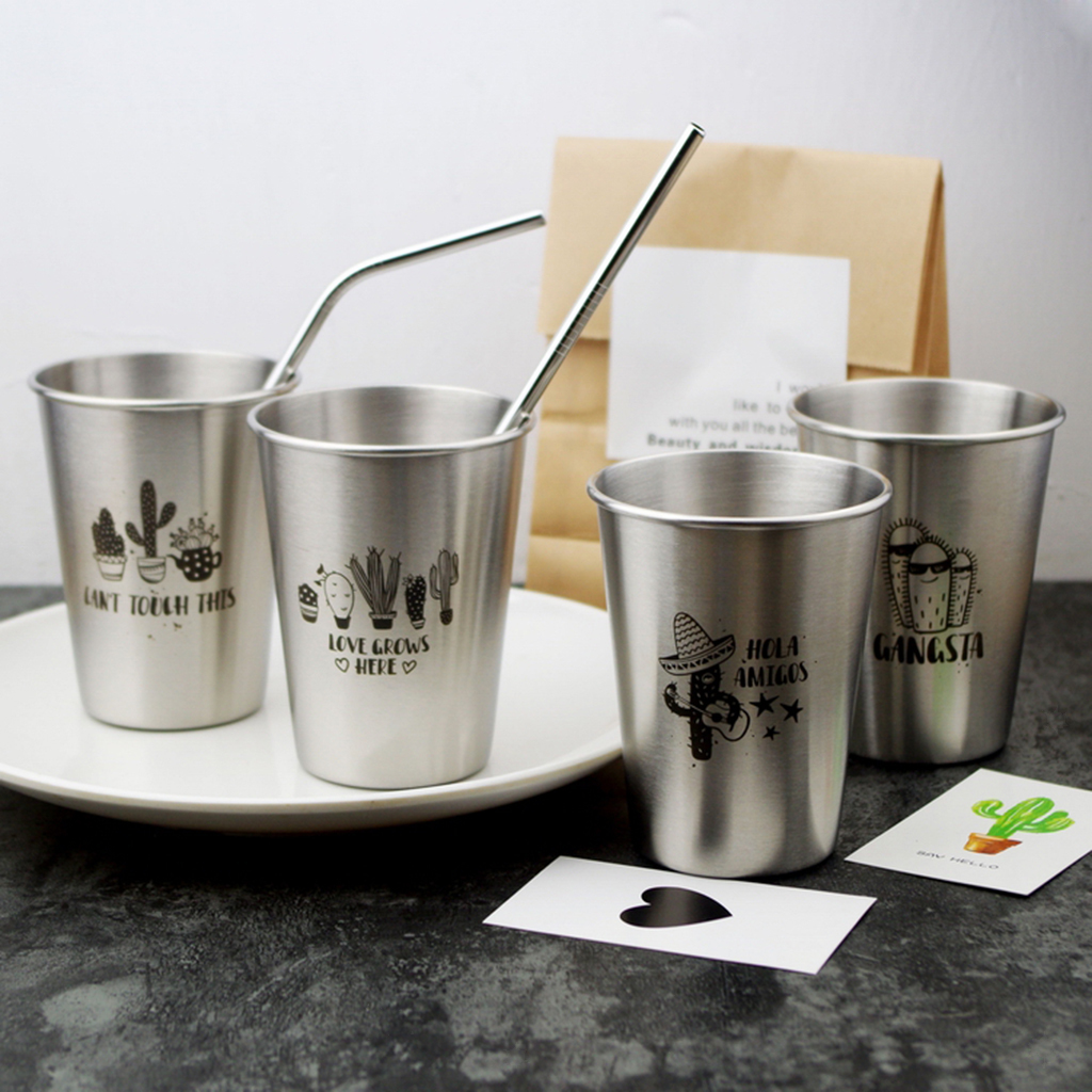 Stainless Steel Cactus Series Drink Cups Stackable Durable Drinking