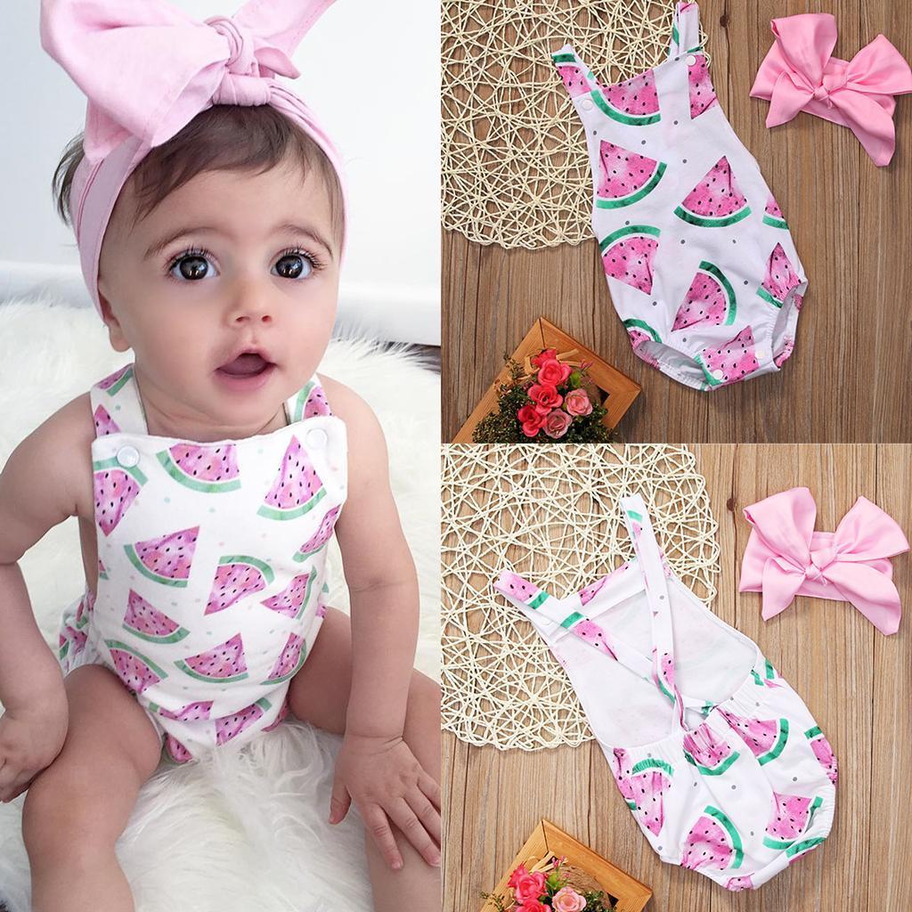 Neugeborenes Baby Mädchen Outfit Stirnband Sommer Strampler Overall Bodysuit
