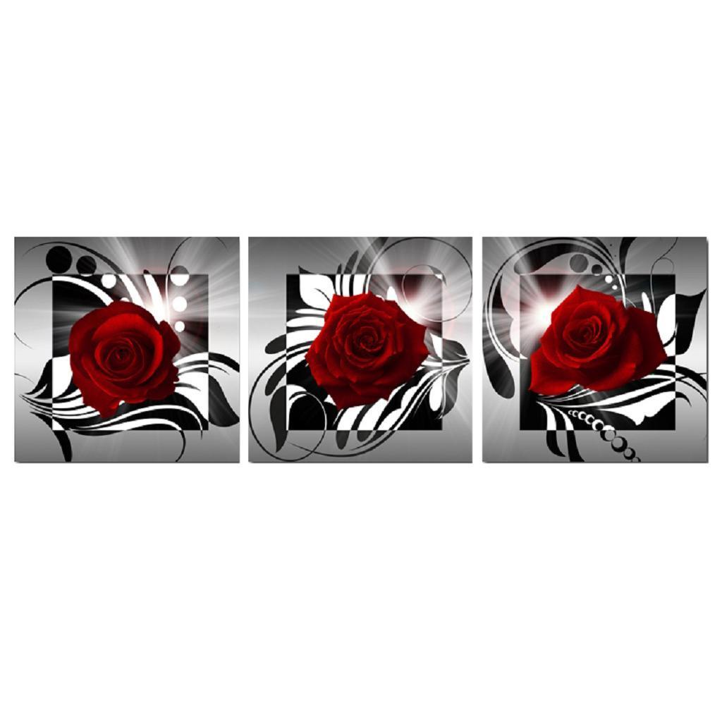 3er-Set Rose Wandbilder Wandbild Kunstdruck Leinwand Bilder Wanddeko