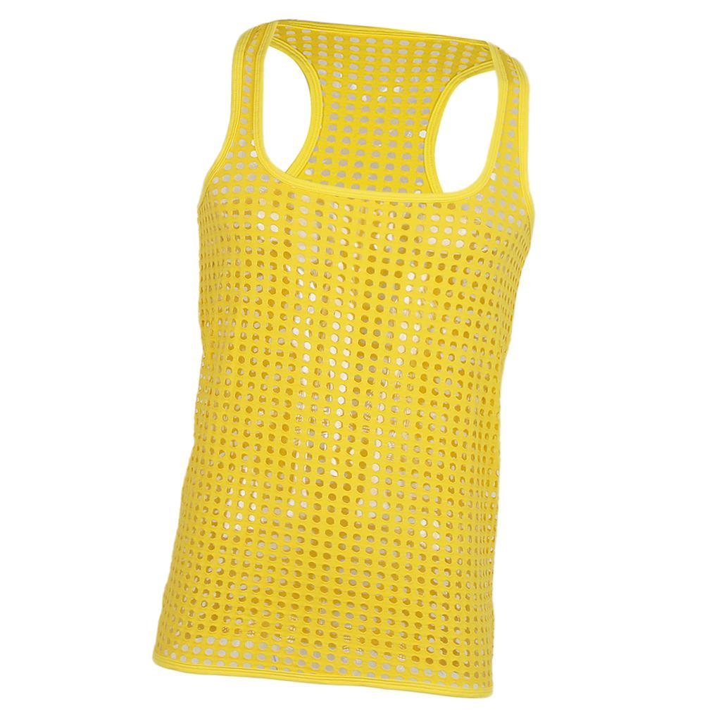 Mens String Mesh Vest Fitted Gym Training Tank Top T shirt Fish Net 6 Colors