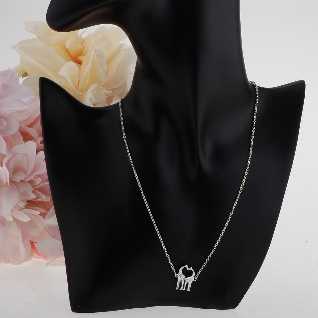 Sweet Double Love Giraffe Necklace Heart Pendant Cute Animal Charm Jewelry
