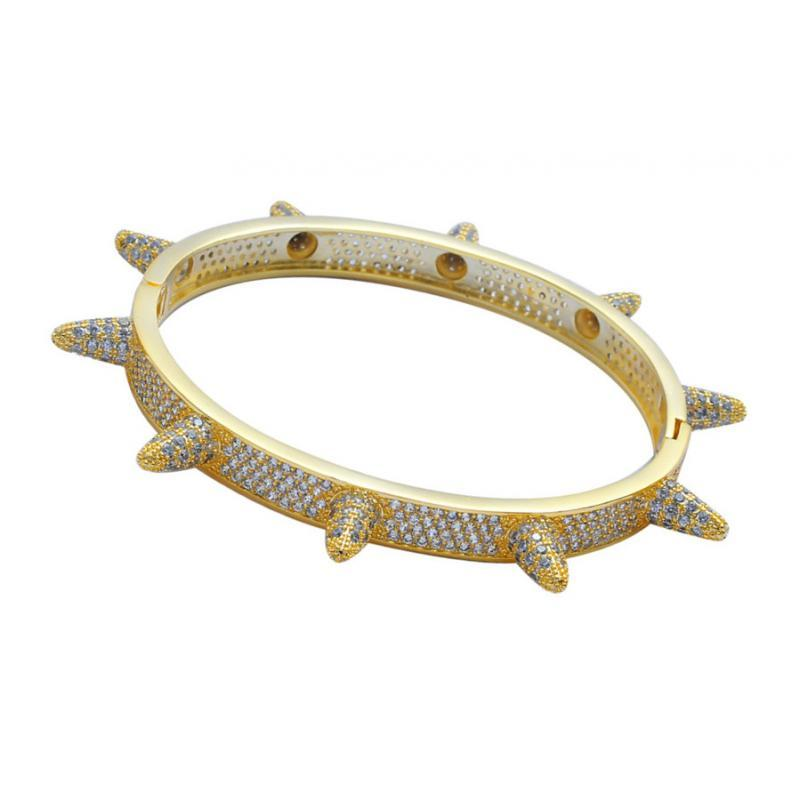 Prettyia 18K Gold Diamond Bracelets Bangle Punk Rivet Hip Hop Cuff Wristband