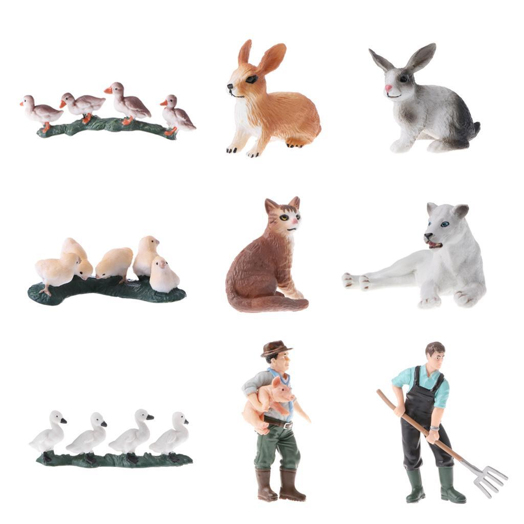 Mini Lebensechte Wildtiere Zoo Tier Haustier Tiermodell Bauer Spielfigur