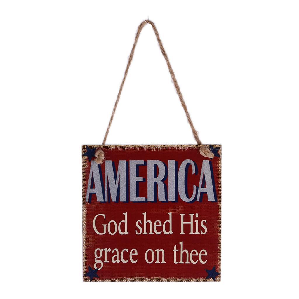 Rustic-Wooden-Hanging-Plaque-American-USA-Patriotic-Sign-Home-Wall-Decor thumbnail 5