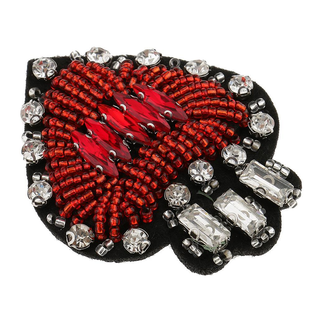 Vintage Beaded Heart Butterfly Patch Iron On//Sew Clothes Rhinestone Applique DIY