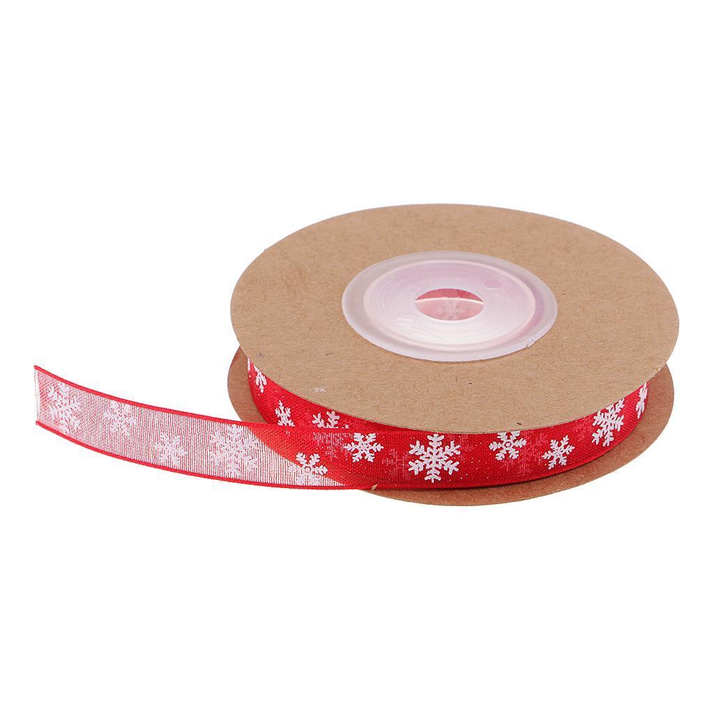 Gift Wrap DIY Sewing 10M Snowflake Printed Mesh Ribbon Trim CARD CRAFT