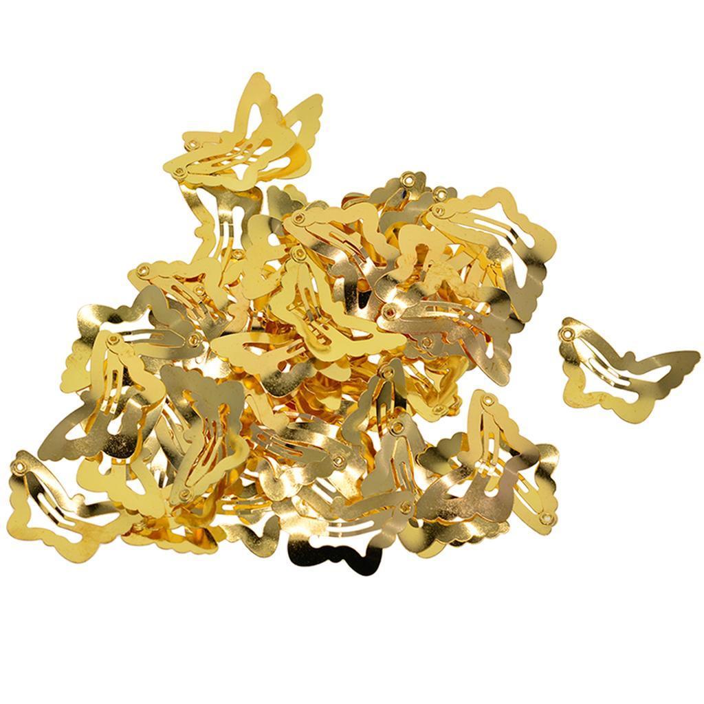 Lot Metal Hair Clips Snap Barrette Cute Hollow Hair Pin Accessories 50Pcs
