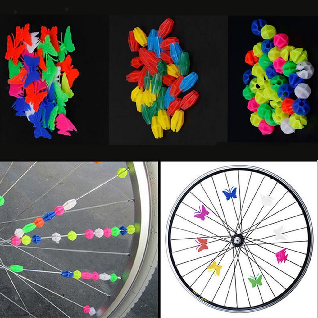 Wheel Plastic Bike Bicycle Spoke Bead Children Kids Clip Colored Decoration LI