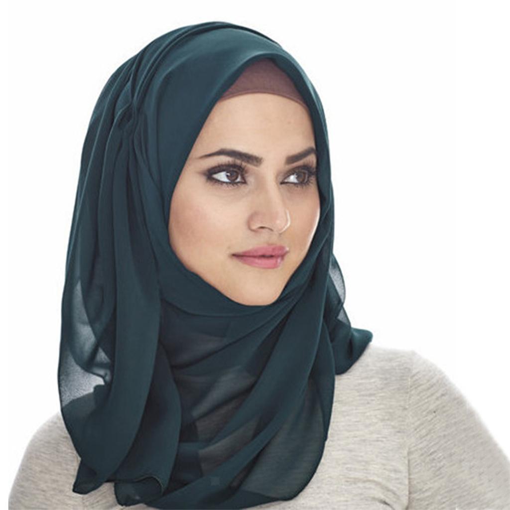 Womens One Piece Hijab Bubble Chiffon Large Head Scarf Arab Islamic Shawls