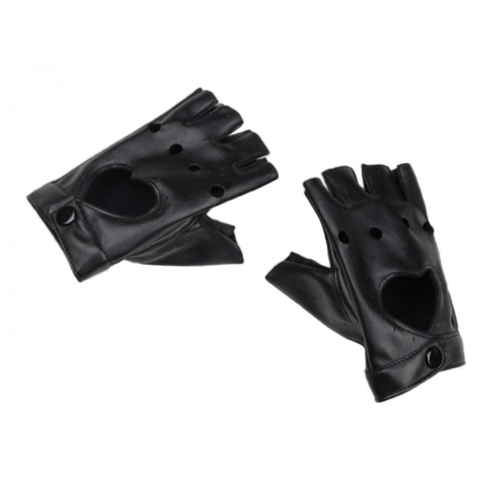 1 Pair Half Palm Gloves Womens PU Leather Hollow Mitten Hip Hop Gloves