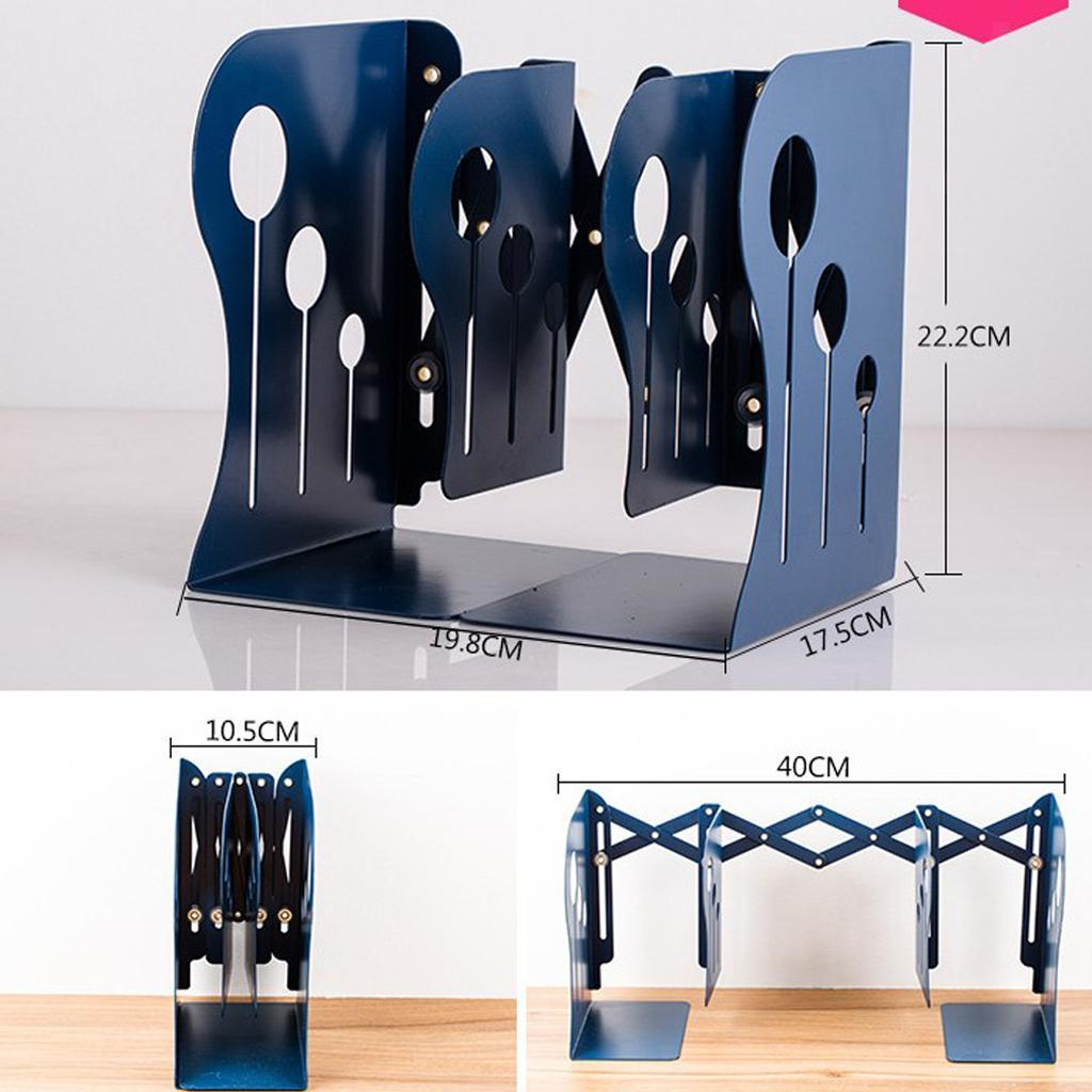Decorative Metal Iron Bookends Holder Stand Desk Nonskid Adjustable Bookend
