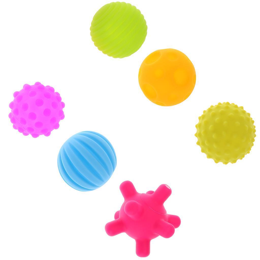 6pcs Bébé Balle d/'Eveil Molle Multicolore Jouet Massage pour Jeux Balles Ballon