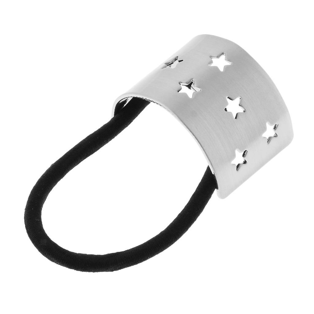 Damen Curved Star Metall Pferdeschwanz Inhaber Ring Luft Manschette