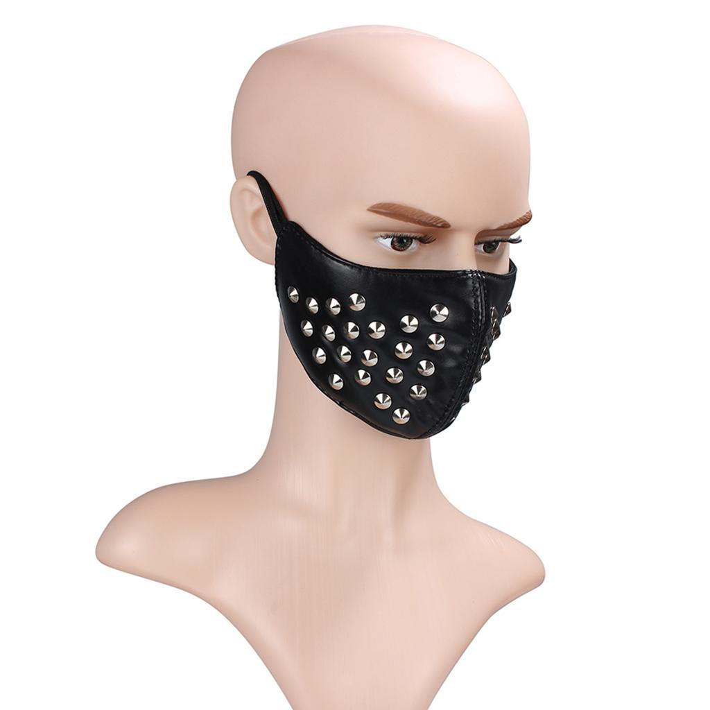 Gothic Skeleton Zipper Leather Rivets Full Half Face Mask Motorcycle Halloween