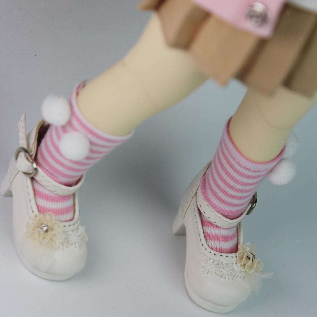 1 Pair Cotton Knit Below Knee Pom Ball Striped Socks for 1//6 BJD SD AS DZ LUTS