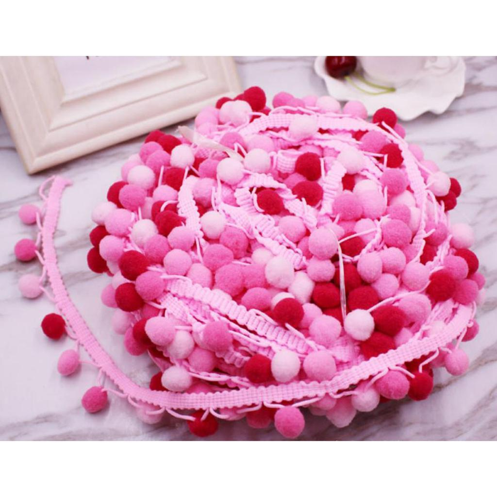 3 Yards Pom Pom Tassel Fringe Ball Ribbon Trim Embellishment for DIY Craft