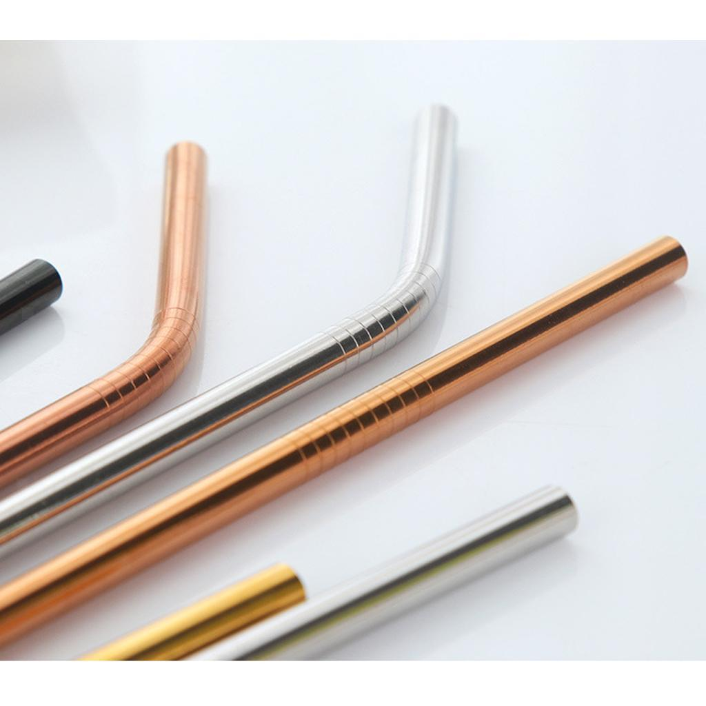 Bent//Straight Shape Stainless Steel Cocktail Drinking Mixing Straw Stick 4 Color