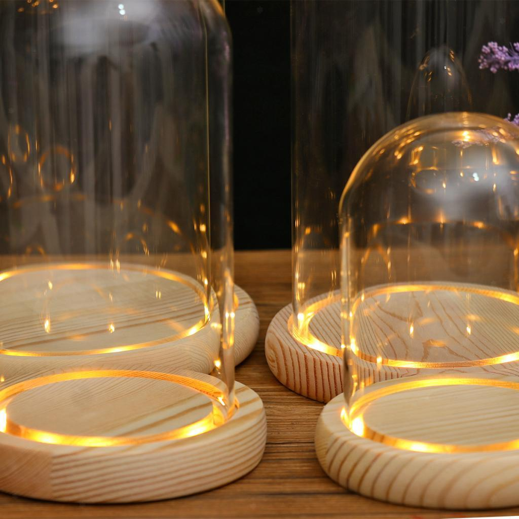 Glass Display Dome Wooden Base LED Decorative Miniature Landscape Ornament
