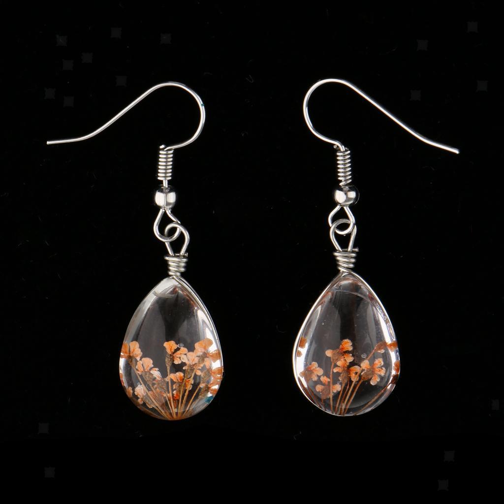 Silver Pressed Flower Earrings Long Tear Drop Dangle Hook Earrings for Women