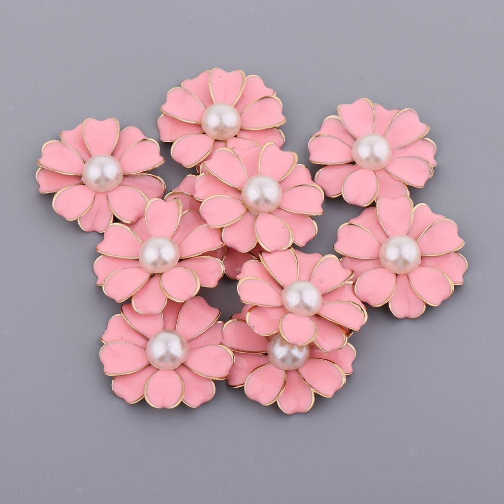 10pcs Pearl Rhinestone Flower Button Crystal Flatback Jewelry Diy Ornaments