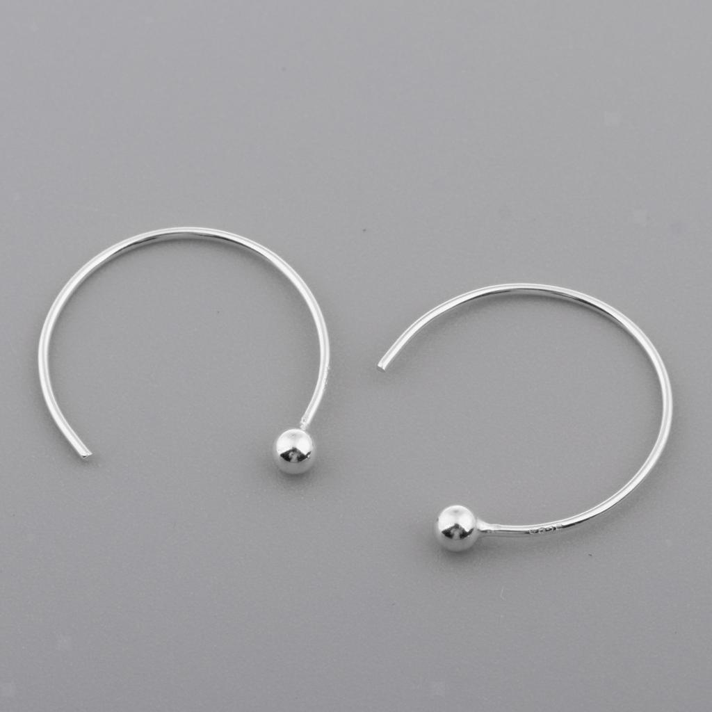 2pcs 925 Sterling Silver Half Circle Hoop Earrings Women Steampunk Ear Clips