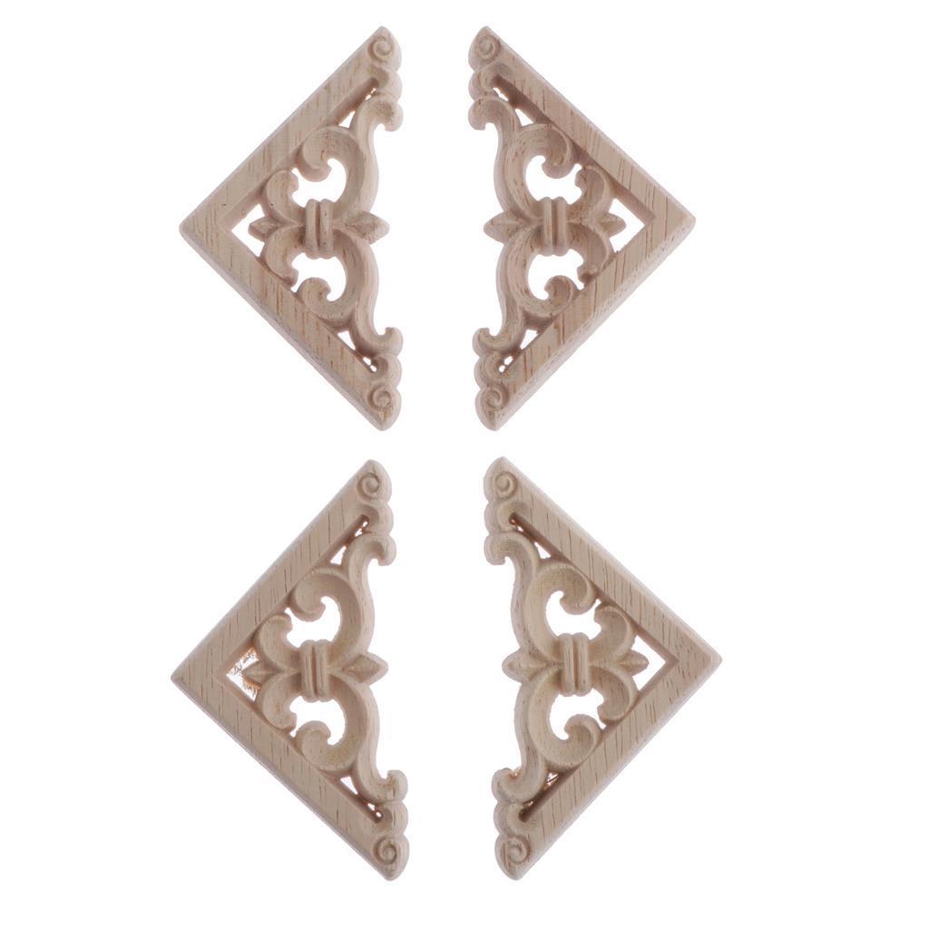 4sets Unpainted Wood Carved Corner Onlay Applique Frame Furniture Decoration