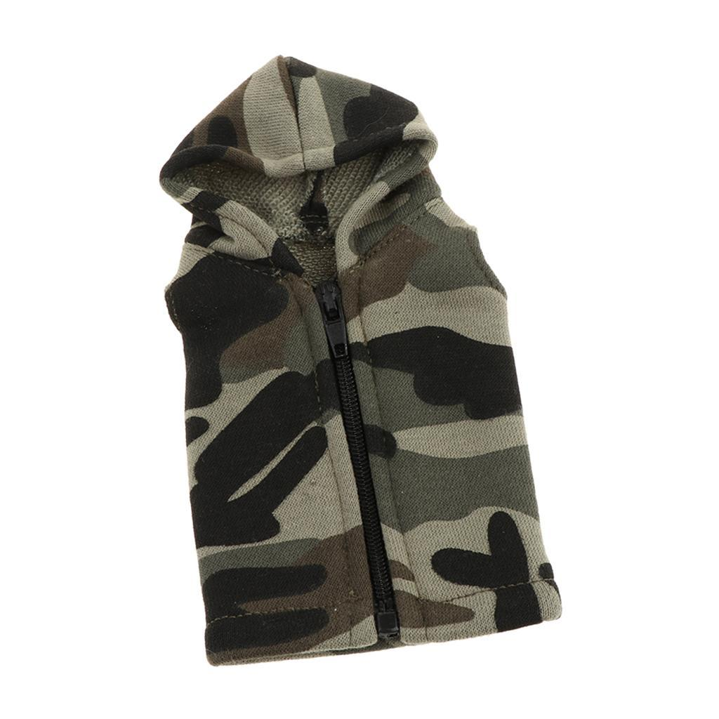 1//6 Scale Casual Waistcoat with Cap Black//Camouflage for 12/'/' Action Figures
