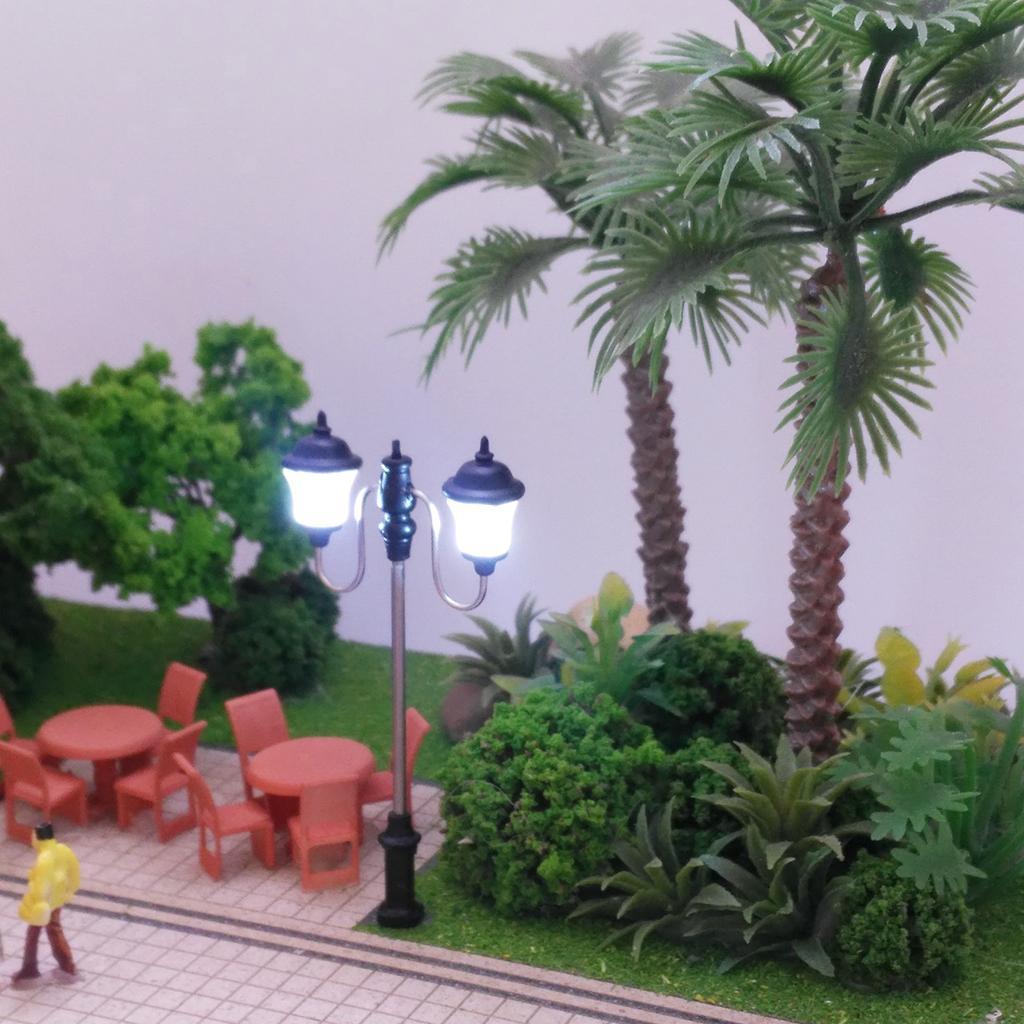 5er 1:100 Straßenlaterne Doppelte Lampe Landschaft Bonsai Puppenhaus Deko