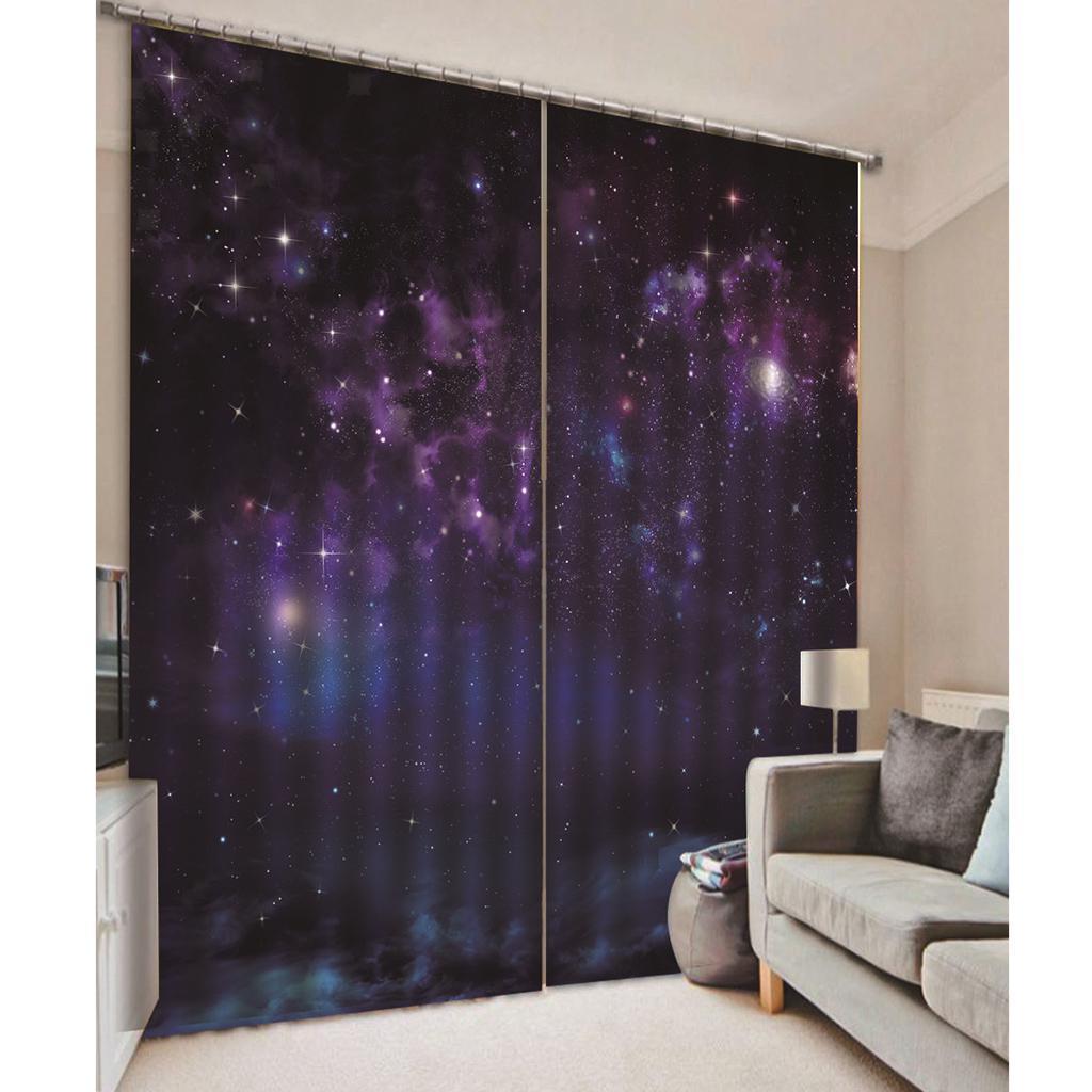 Kids Room Darkening 3D Blackout Curtains Drapes Night Sky Window Curtain