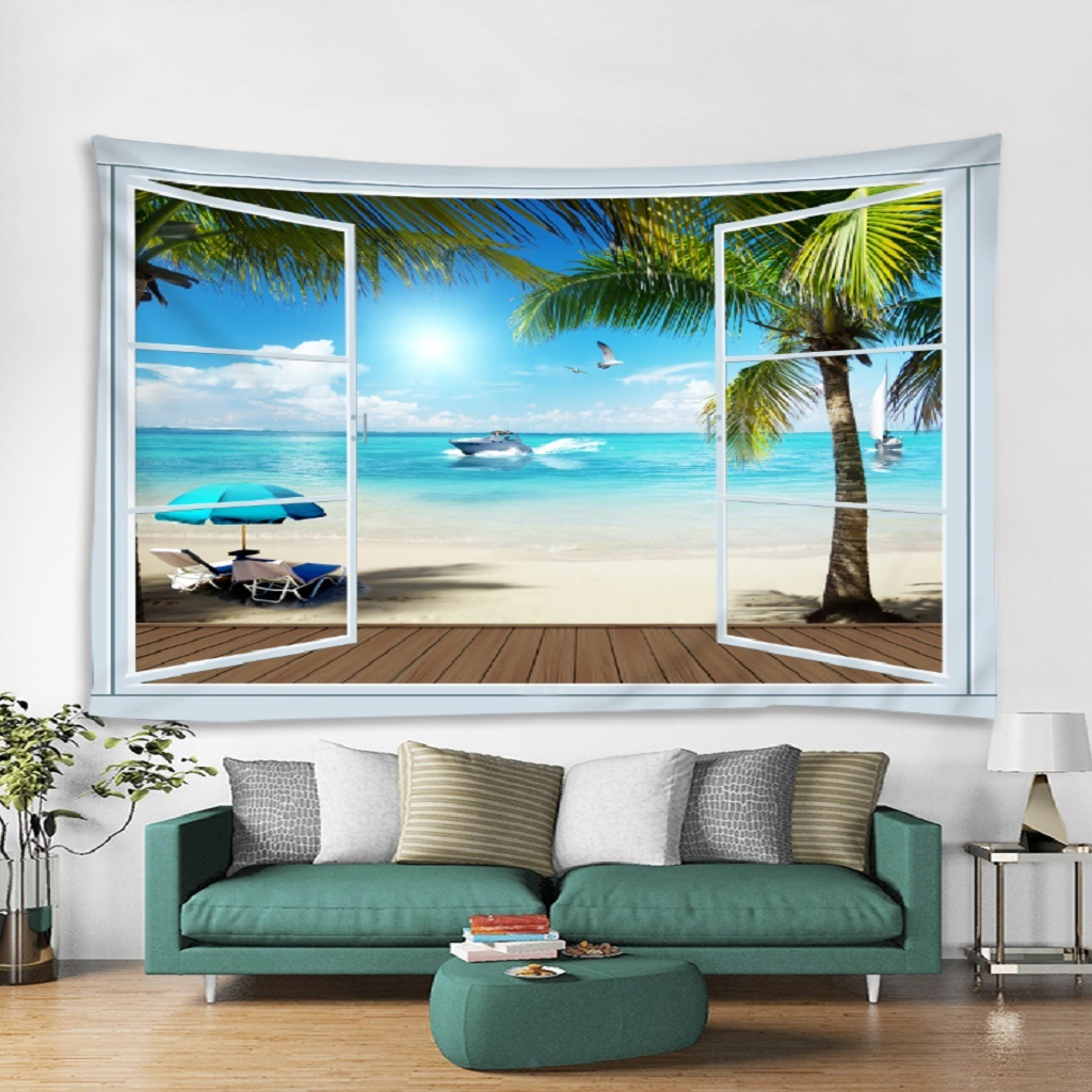 Wall Hanging Tapestry Curtain Creative 3D Photo Printed Beach Towels Rugs
