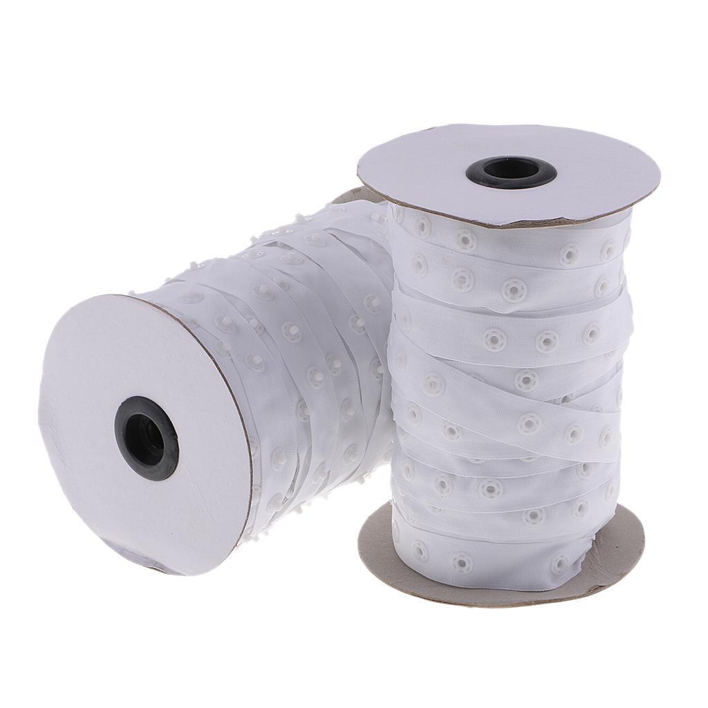 50 Yards Snap Fastener Ribbon Press Stud Tape for DIY Garment Sewing Accessories