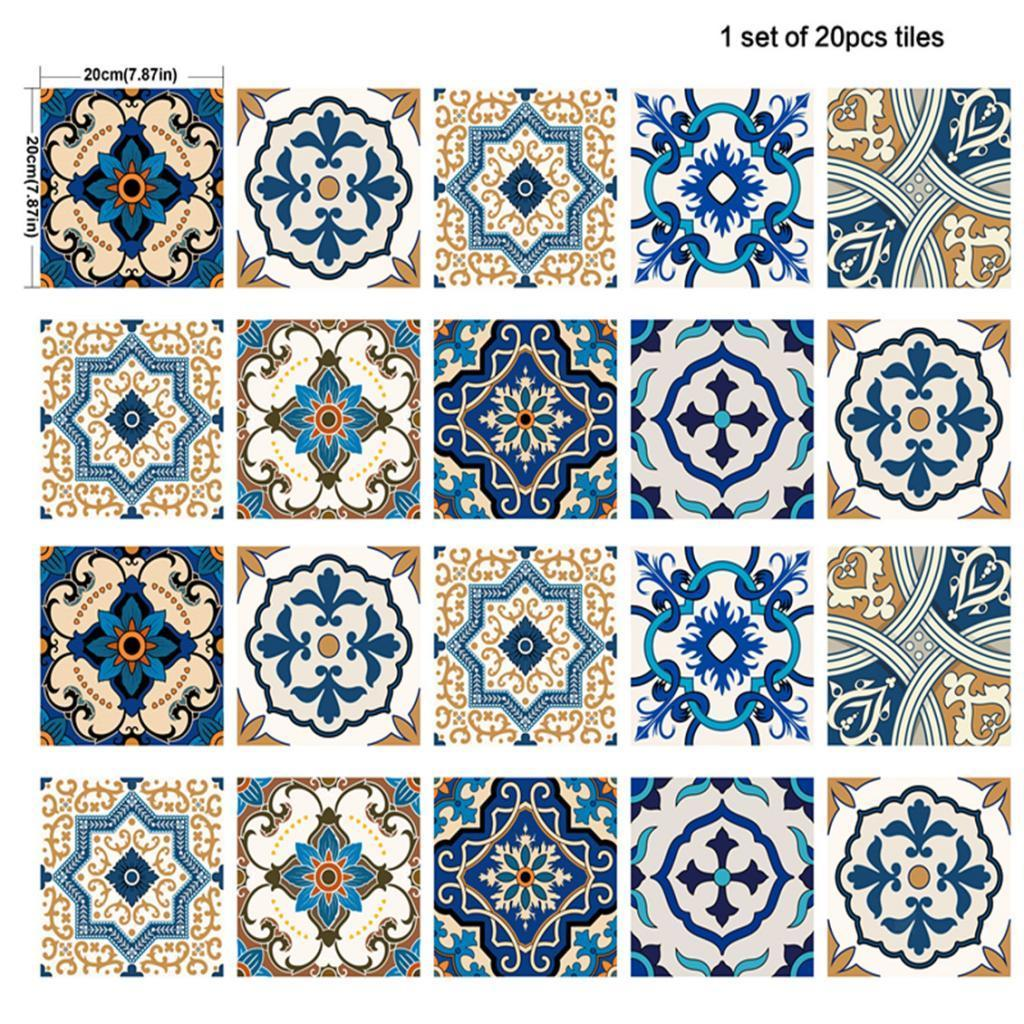 20x Square Wall Paper Wall Tile Sticker Decal for Bathroom Kitchen Bedroom Decor
