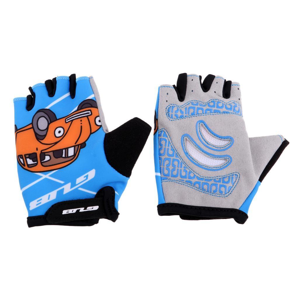 Boy Girl Children Kid Padded Finger-less Gloves Mitten for Cycling Skating
