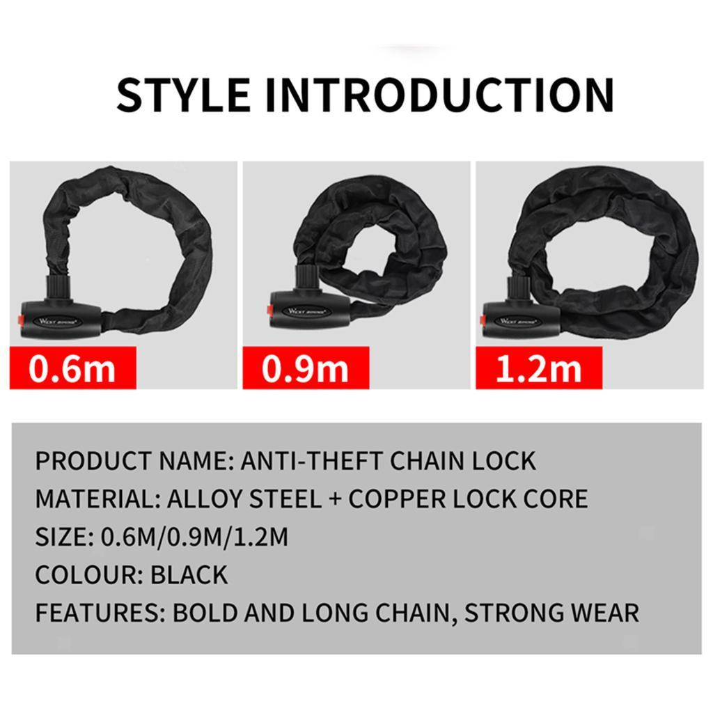 Heavy Duty Bike Chain Lock Anti-theft Motorcycle Scooter Cable Secure Lock