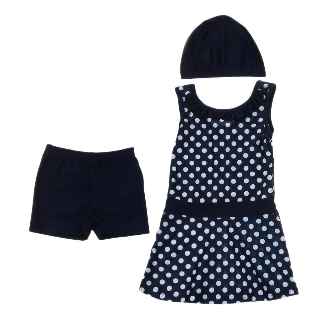 Cute Girls Polka Dots Swimwear Hat Children Swimsuit Muslim Protective Beachwear