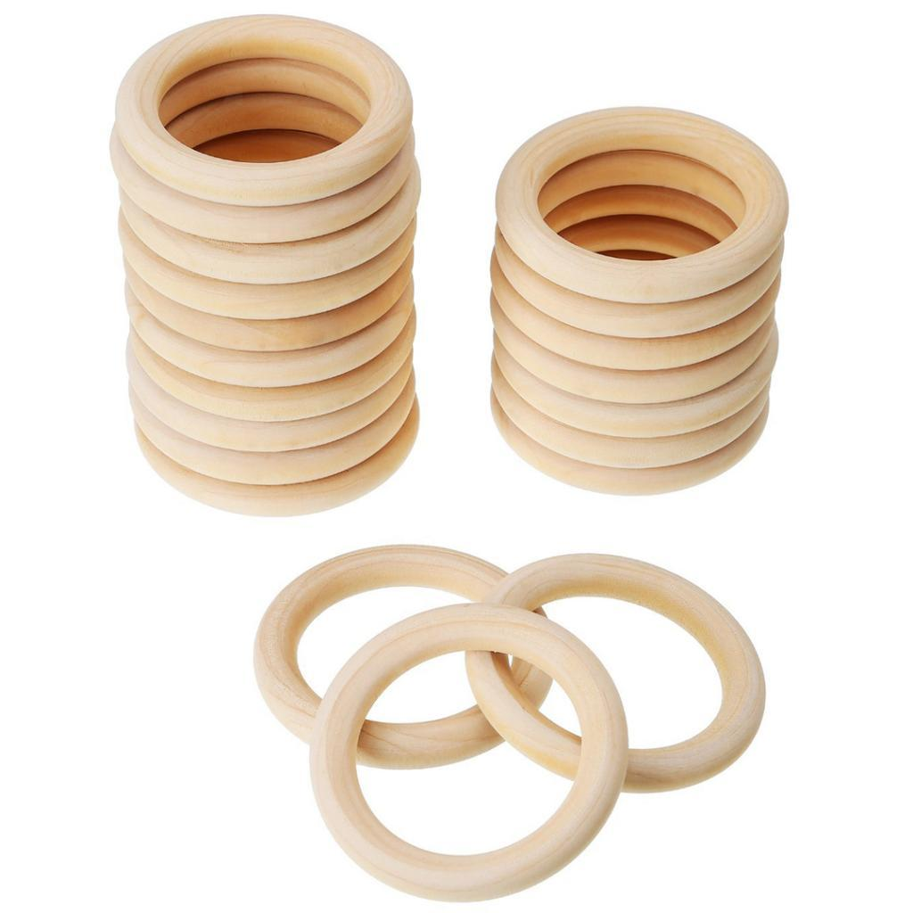 Natural Unfinished Wooden Round Baby Teether Ring Handmade Shower Toy Ring 20pcs