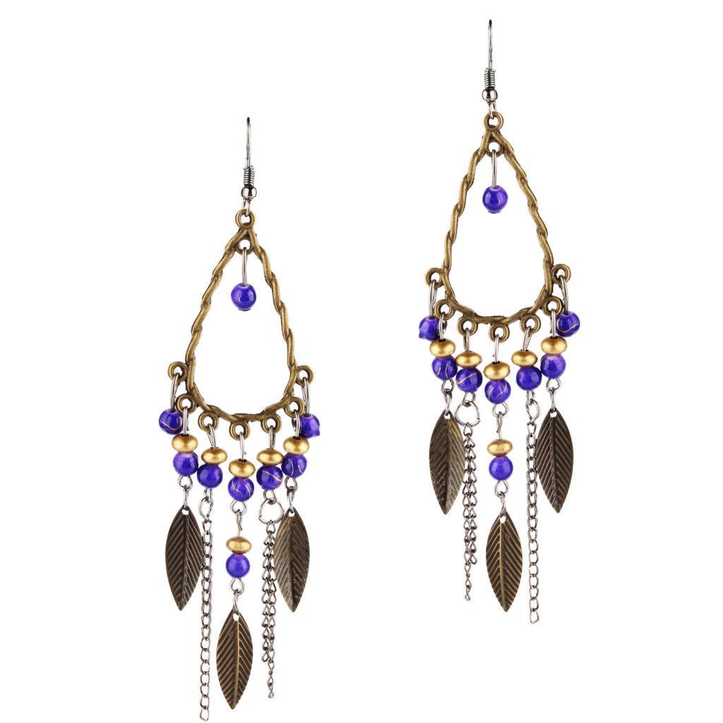 Vintage Woman Multicolor Dangle Tassel Hook Earrings Long Drop Bohemia Jewelry