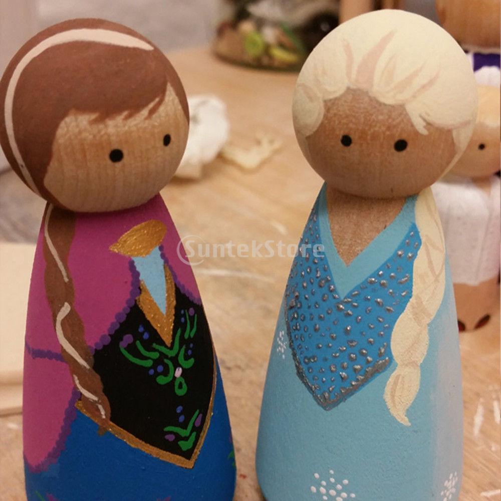 20Pcs Unfinished Wood Peg Doll Natural Wooden People DIY Craft Dolls Decoration