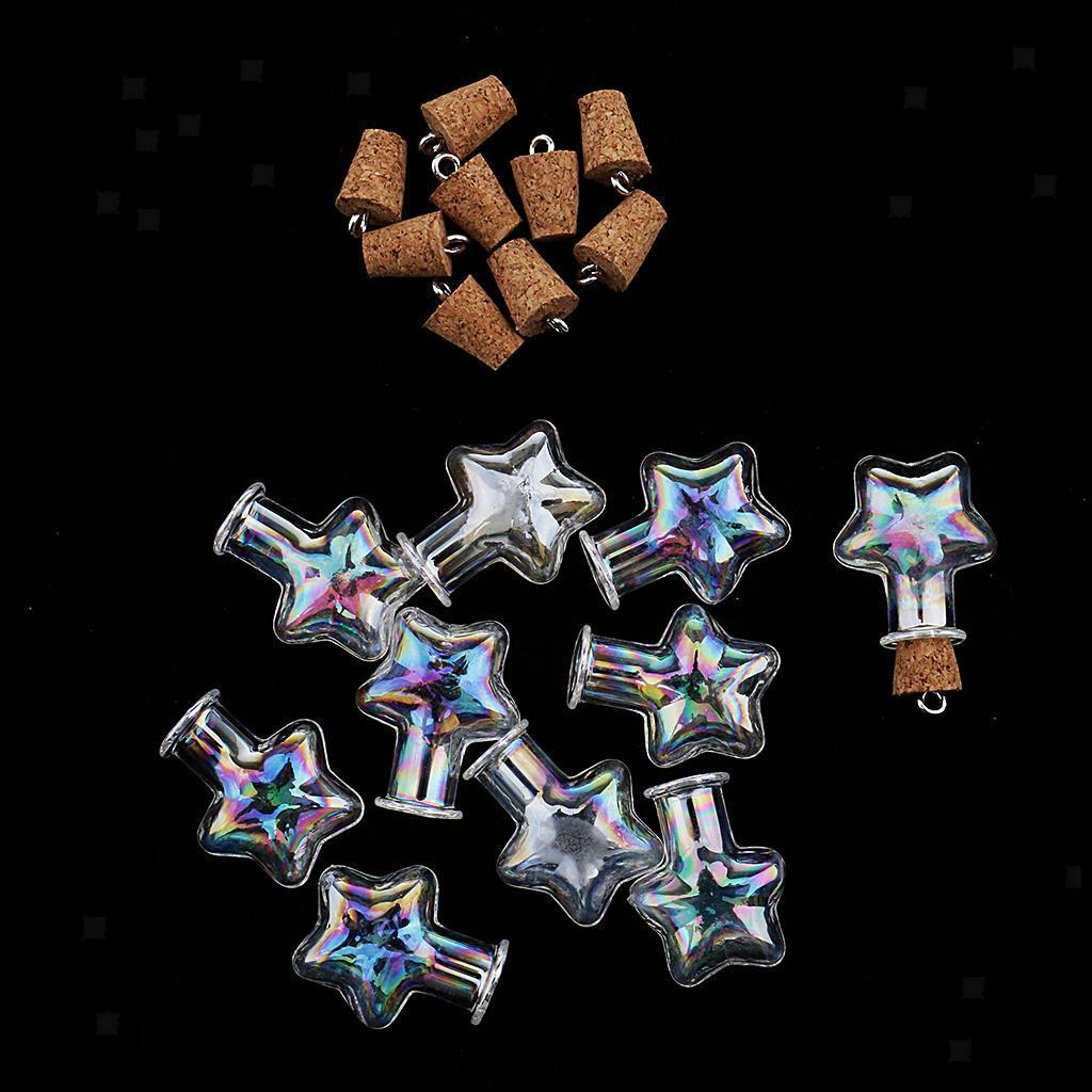 10pcs Small Glass Bottle Message Treasure Charm Pendant DIY Kit For Necklace