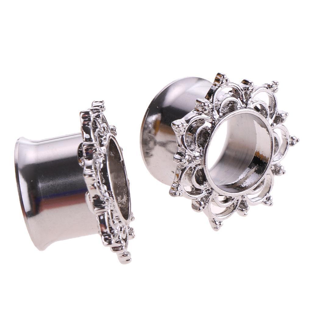 2//pack Stainless Steel Ear Tunnels Plugs Piercing Ear Gauge 8mm-18mm