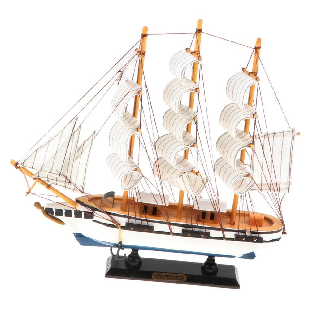 33cm Wooden Sailboat Model Sailing Ship Display Boat Decoration Gift Home Decor
