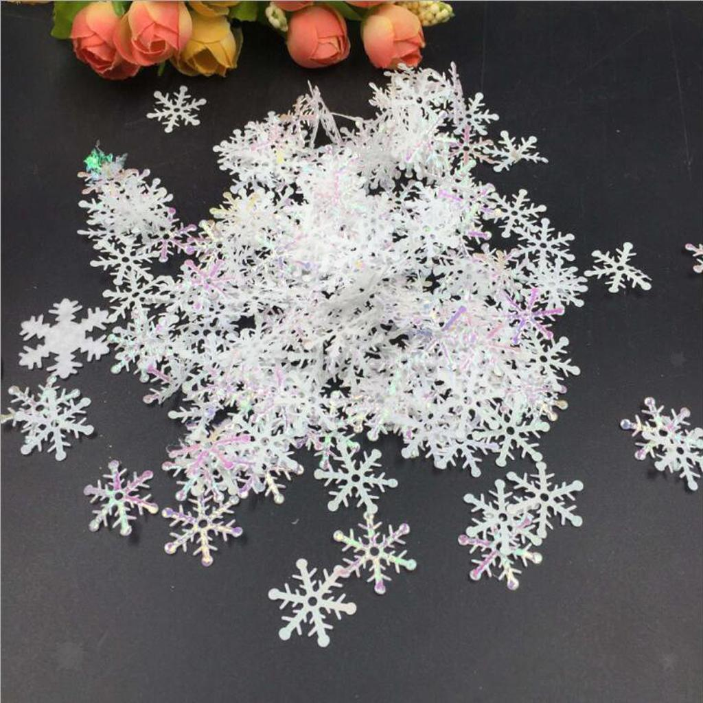 Shiny White Plastic Snowflake Confetti Sprinkles Christmas Decoration 1.5//2//3cm
