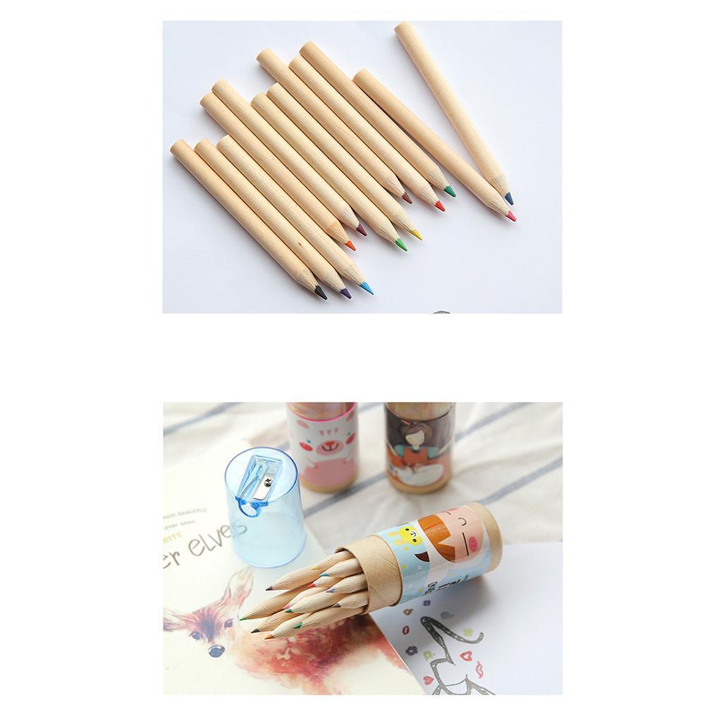 Mini-Holz-Malerei schreiben 12 Farben Bleistifte mit Anspitzer für Kinder