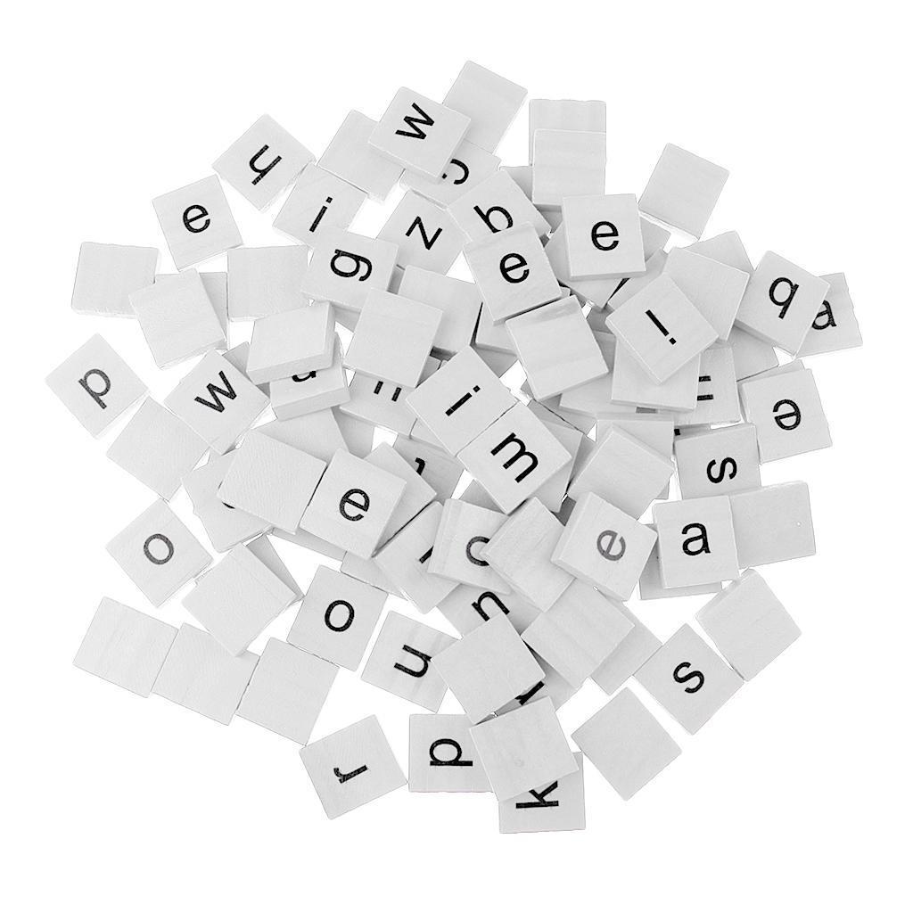 100 stk Holz Alphabet Fliesen schwarze Buchstaben Zahlen für