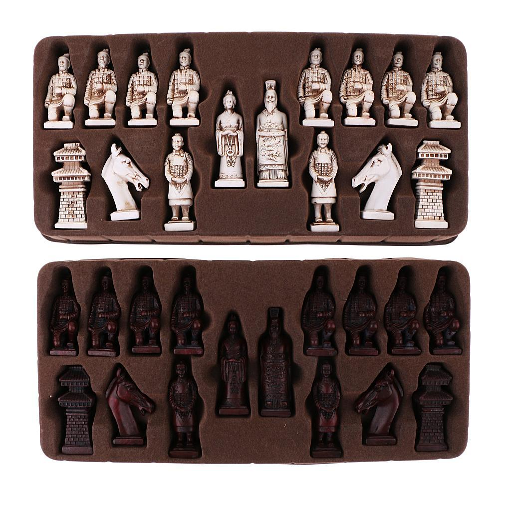 Xian Terracota Warrior Vintage Chinese Chess Set with Folding Chess Board