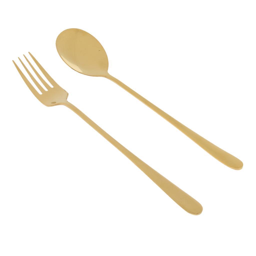 Korean Spoon Fork Set Stainless Steel Flatware Long Handle Cutlery Pack of 2