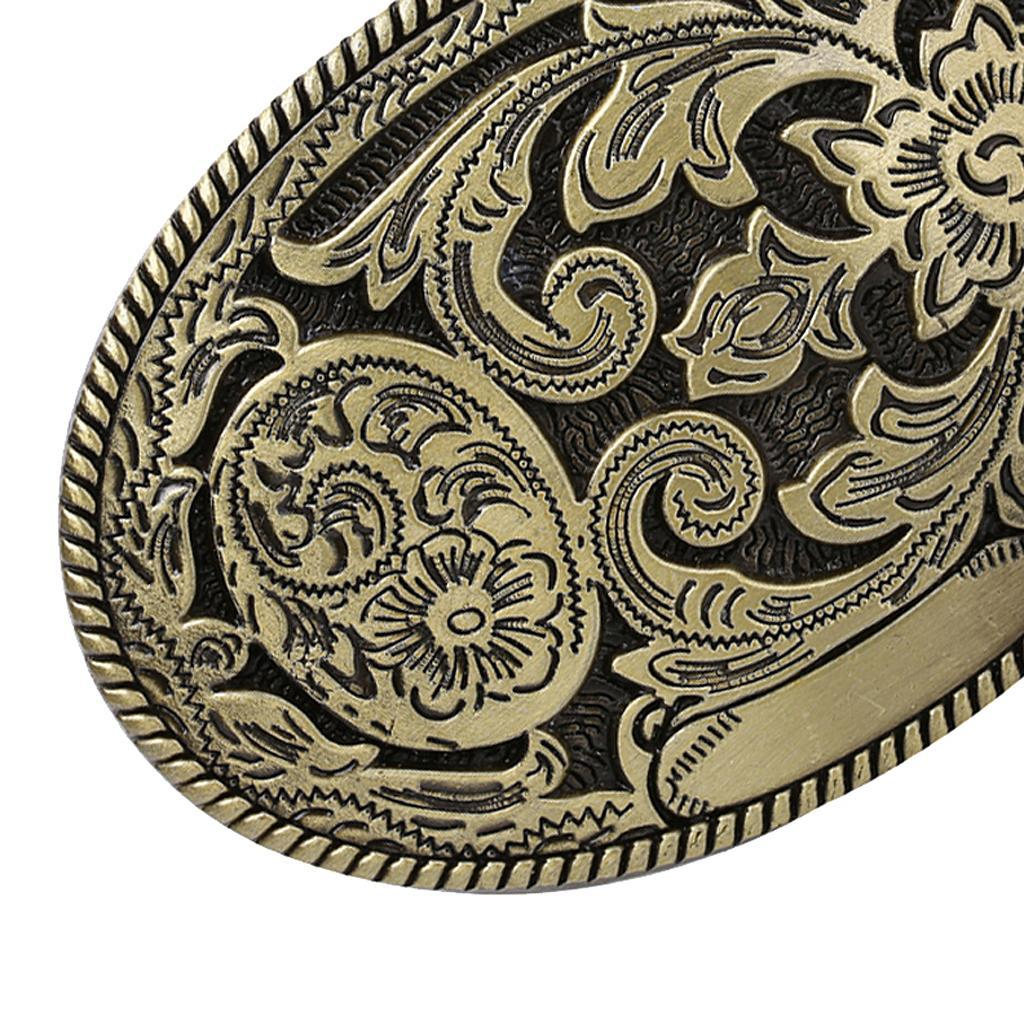 Retro Rodeo Western Cowboy Cowgirl Belt Buckle Engraved Jeans Leather Belt Decor