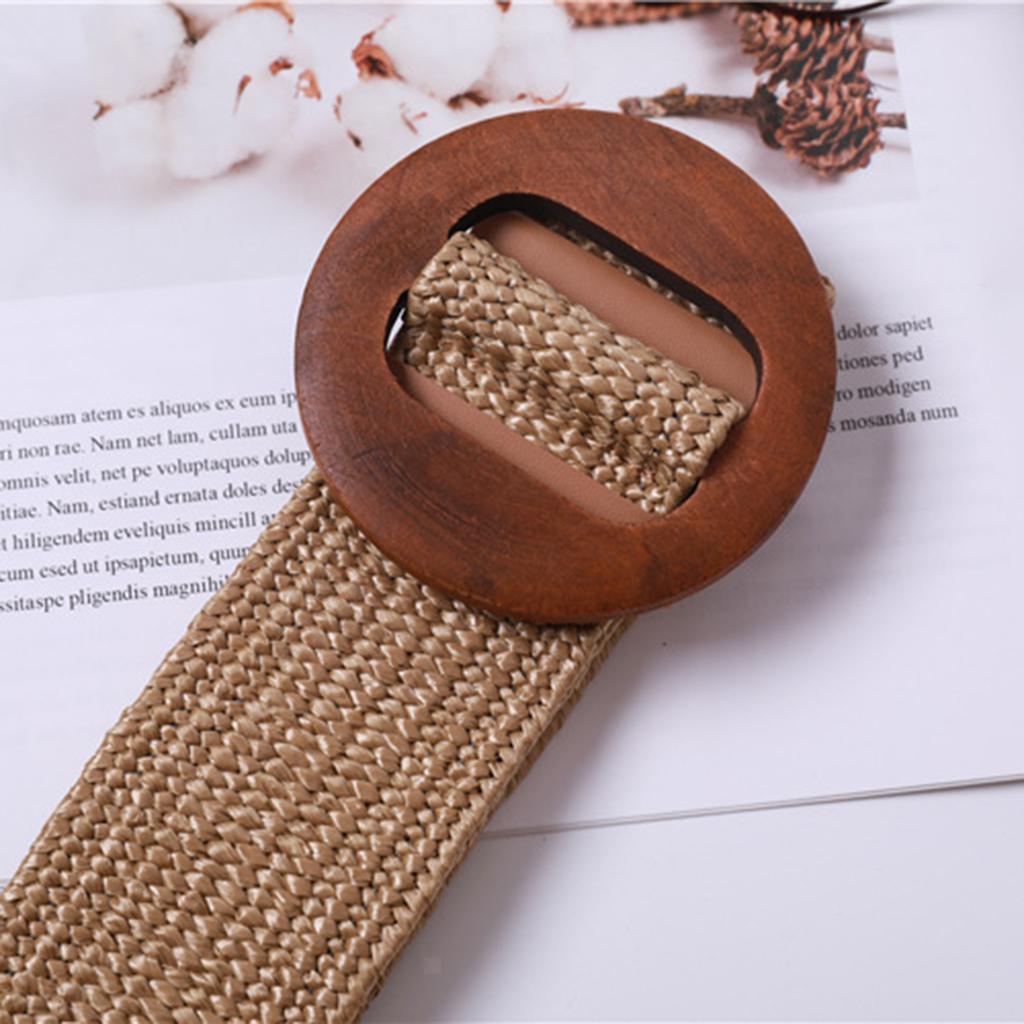 Vintage Woven Straw Waistband Wide High Waist Strap Cinch Belt Stretchable