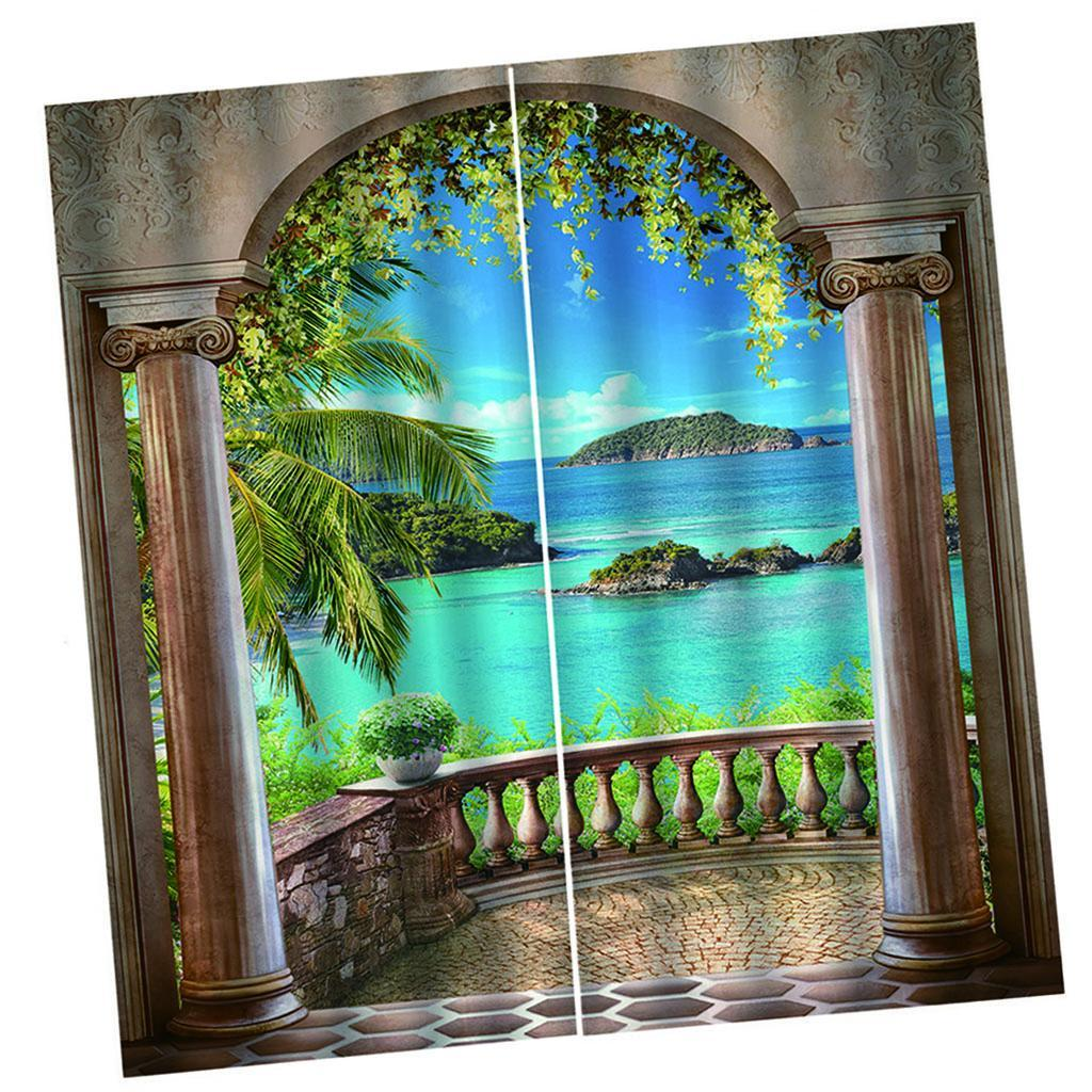 3D Effect Blackout Curtains Living Room Bedroom Window Drapes 2 Panel Set