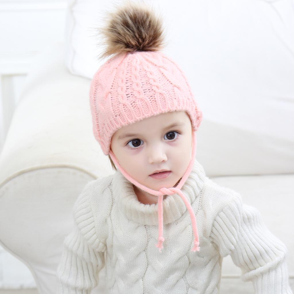 Newborn Baby Girl Boys Warm Winter Earflap Crochet Knit Beanie Ball Pom Hat